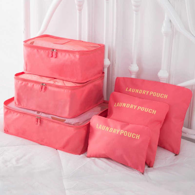 DIDIHOU 6 pçs/set Sacos De Armazenamento De Viagem Roupas Wardrobe Tidy Organizador Mala Bolsa Sacos do Organizador Caixa de Sapatos Embalagem Saco Cubo