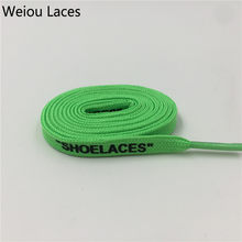 "Weiou Brand Off White flat Polyester shoeLaces Printing ""SHOELACES"" Green Orange OW Signed Jointly Running Shoetrings Custom(China)"