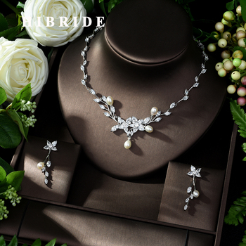 HIBRIDE Charm AAA Cubic Zirconia Jewelry Sets for Women Bridal Wedding Sets 2 Pcs Earring Necklace Set Women Gift N-990