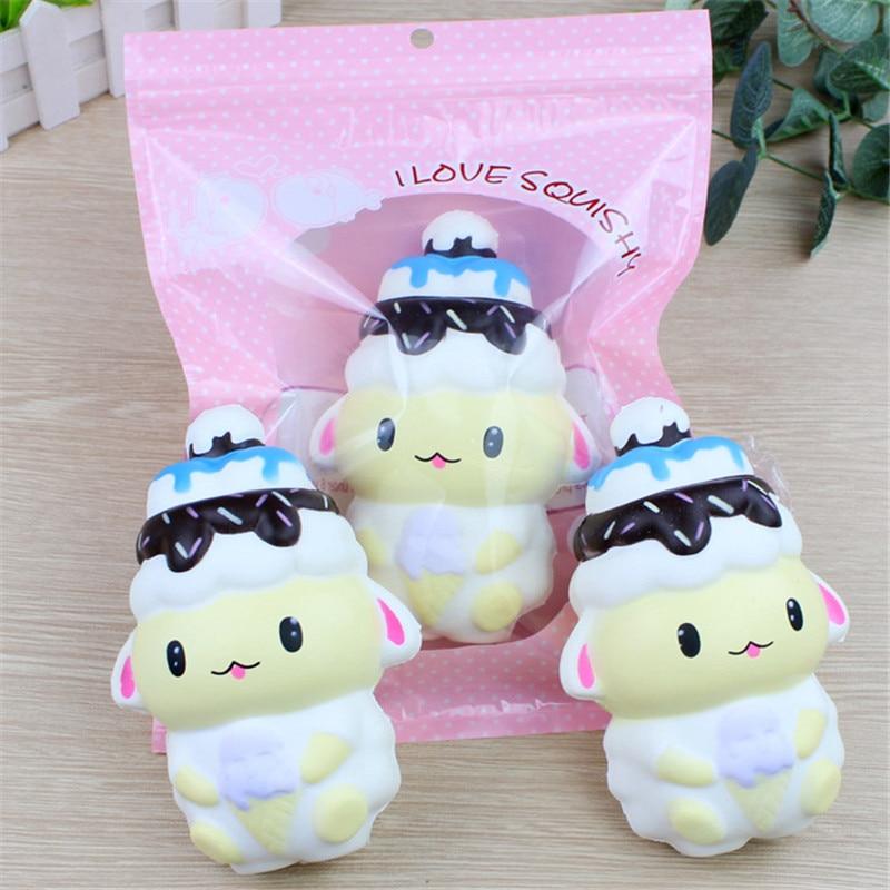 14CM Jumbo Rilakkuma IceCream Bear Squishy Kawaii Cute Slow Rising Phone Straps For Squeeze Bread Office Pressure Release Toys