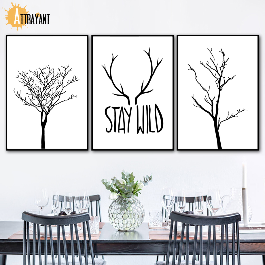 Abstract Black White Tree Antler Wall Art Canvas Painting Nordic Posters And Prints Wall Pictures For Living Room Bedroom Decor in Painting Calligraphy from Home Garden