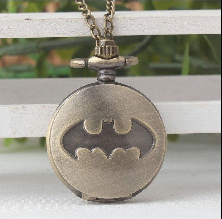 Fashion Quartz Batman Pocket Watch Necklace Women Super Man Cartoon Men Fob Watches Retro Bronze Gift Watch