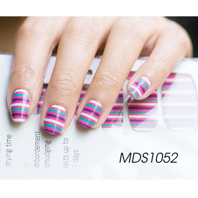 New 16Tips Multicolor Stripes Nail Art Stickers Adhesive ...