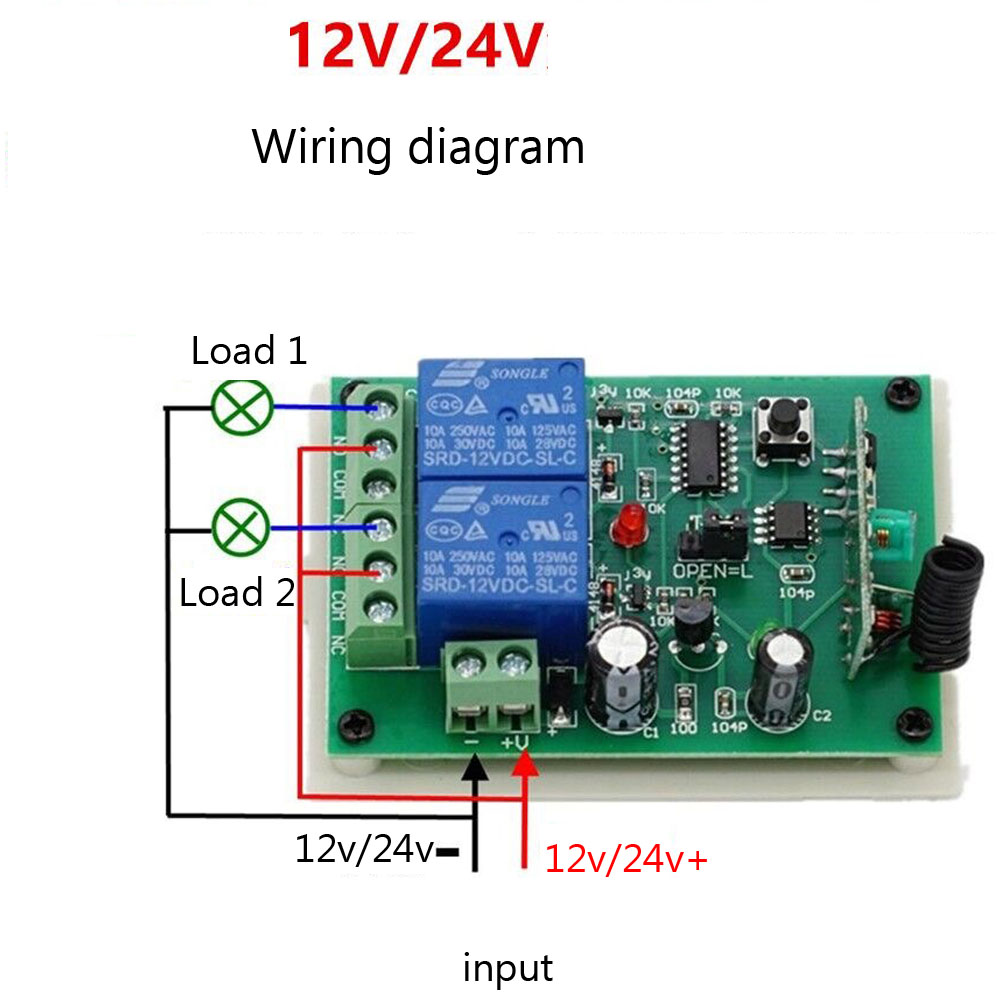 Dc12v 24v 2 Channel Wireless Switch 1 Receiver 3 Transmitter Wiring Diagram Remote Control In Access Kits From Security Protection On