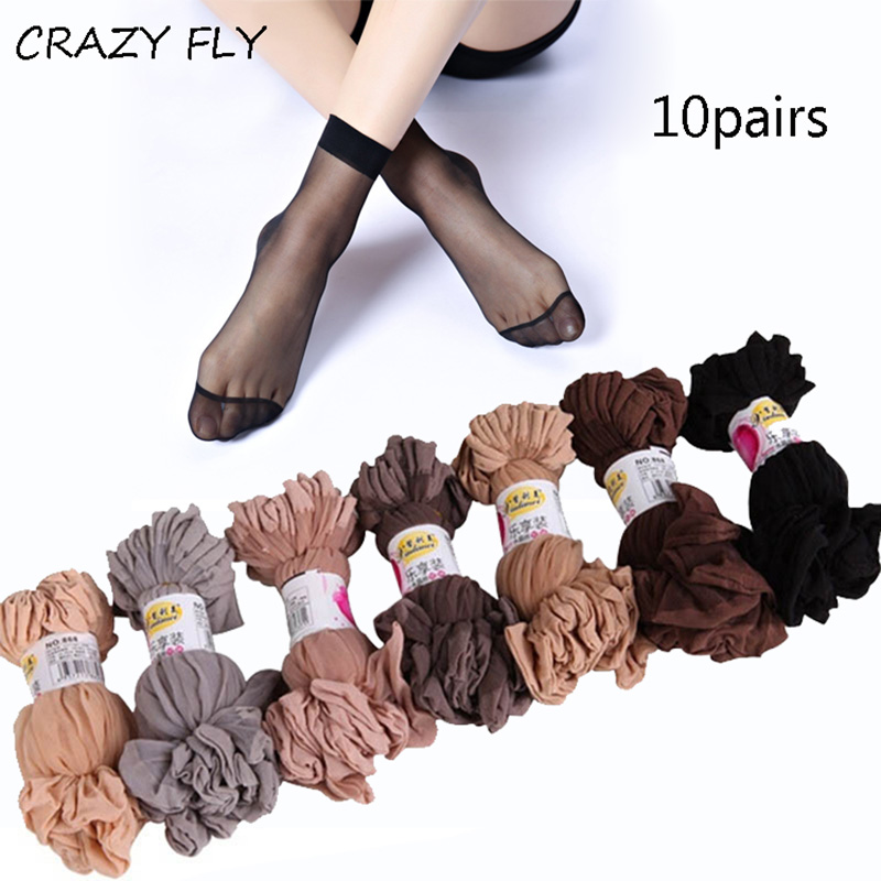 CRAZY FLY 20 Pcs/pack Fashion Thin Summer   socks   women\x27 Sexy Thin Transparent   Socks   Women High Elastic Black Nylon Short   Socks