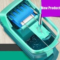 Большой плоский mop Баррель Поворотный Двойной driven ручка Хорошее качество Прицепы Ванная комната Гостиная Кухня Уборочные Инструменты Бесп