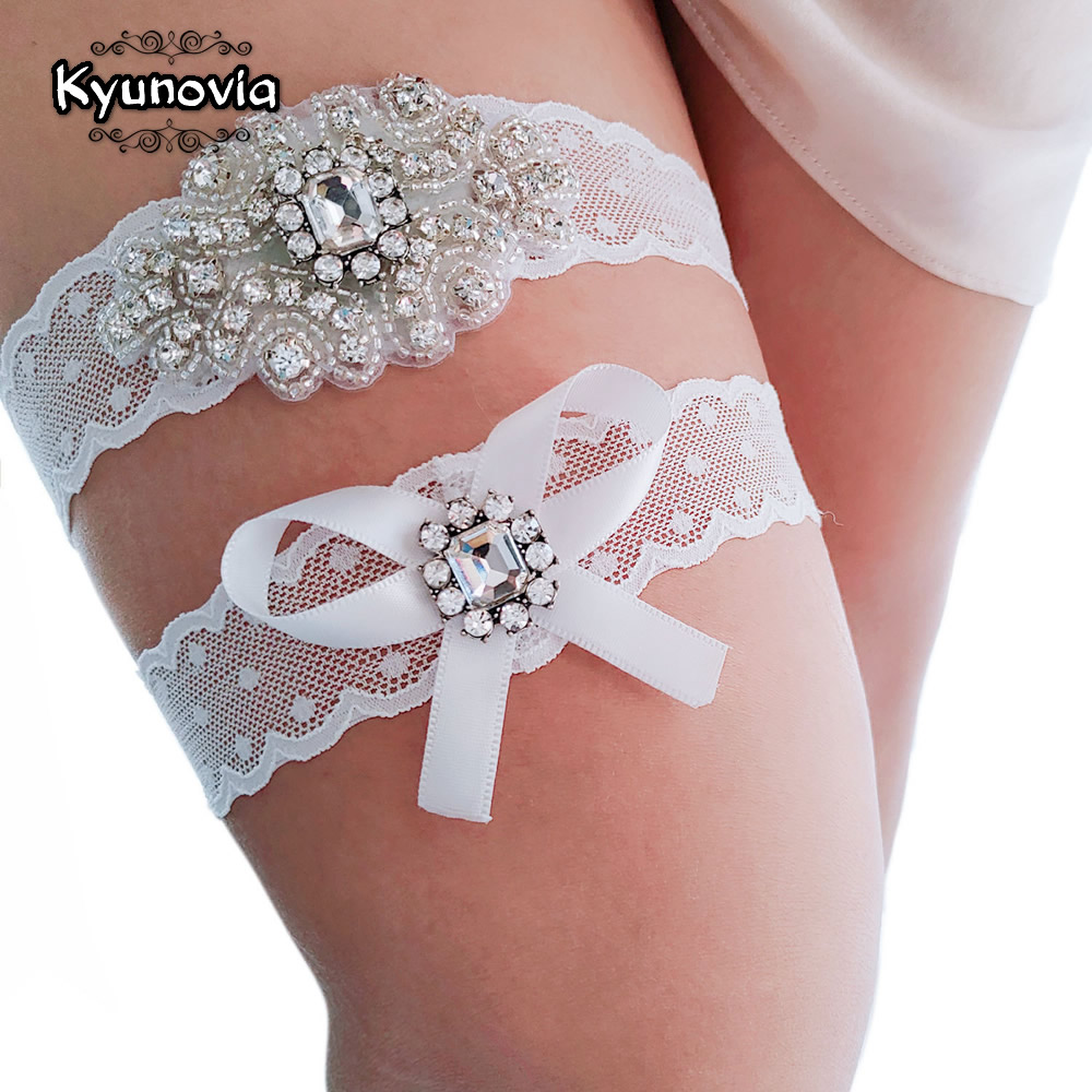 Kyunovia Crystal And Pearl Garter Bridal Garter Vintage Rhinestones Bridal Garter Lace Wedding Garter Set  D99