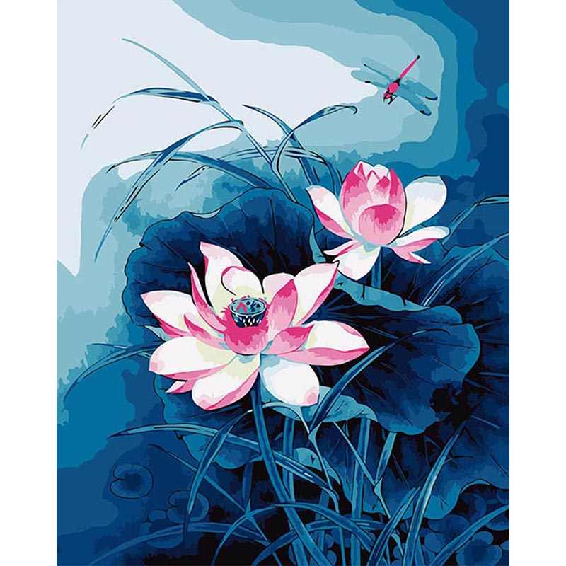 Lotus flower picture Wall Art decor Canvas Paintings DIY Oil Painting Quadros De Parede Para Sala Painting by Numbers DY092