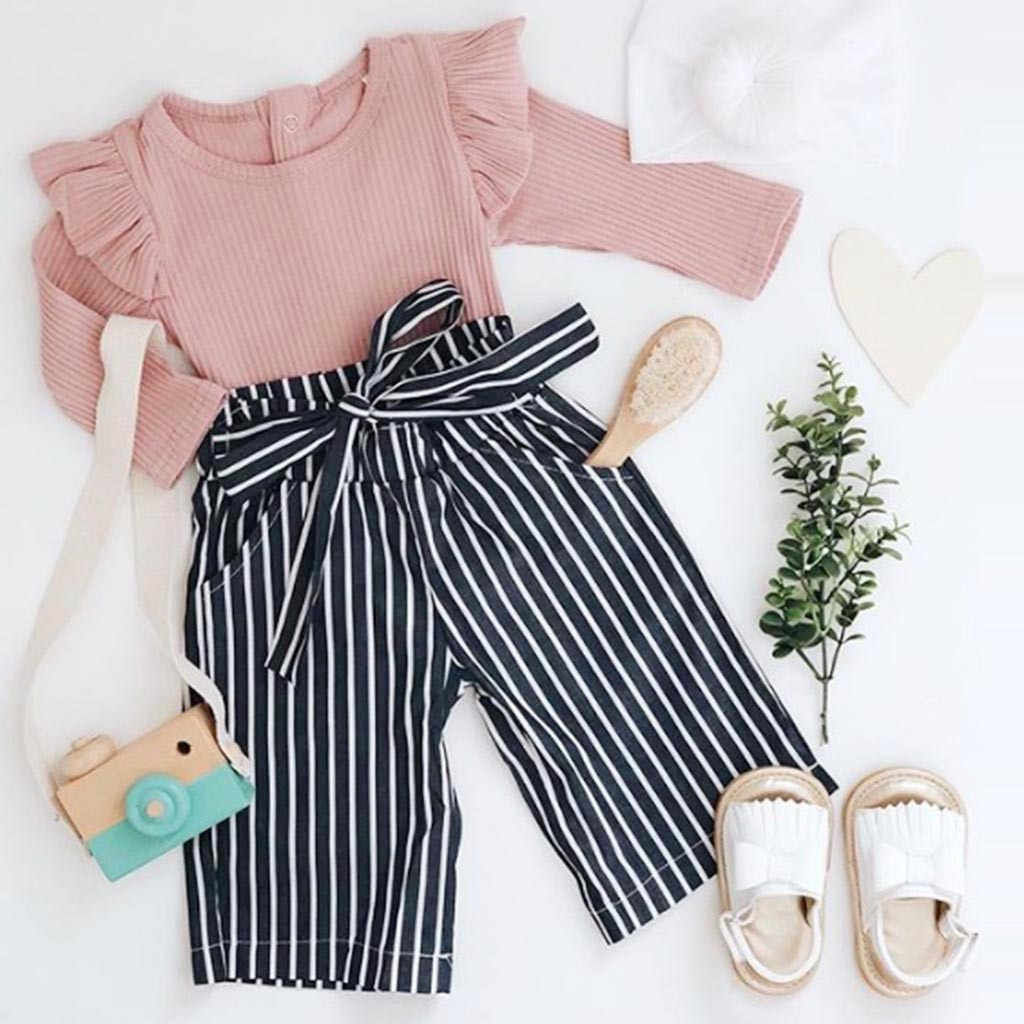 Children Clothing 2019 Autumn Winter Toddler girl Clothes Kids Baby Outfits Clothes Romper Bodysuit+Stripe Long Pants Set #YL1