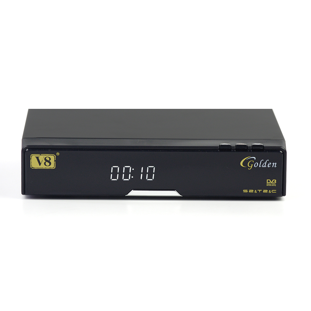 V8 Golden Satellite Receiver PC USB WiFi tv set top box Satellite television receiver 1080P Full HD DVB-S2+T2+Cable Support WEB i box rs232 dvb s satellite smart sharing nagra 3 dongle black