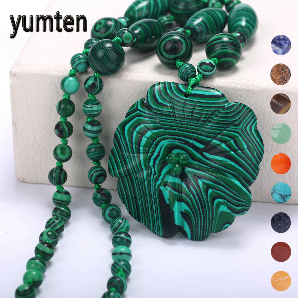 Yumten Malachite Necklace Pendant Crystal Flower Statement Women Sweater Chain Fashion Short Jewelry Accesorios Joyeria Mujer