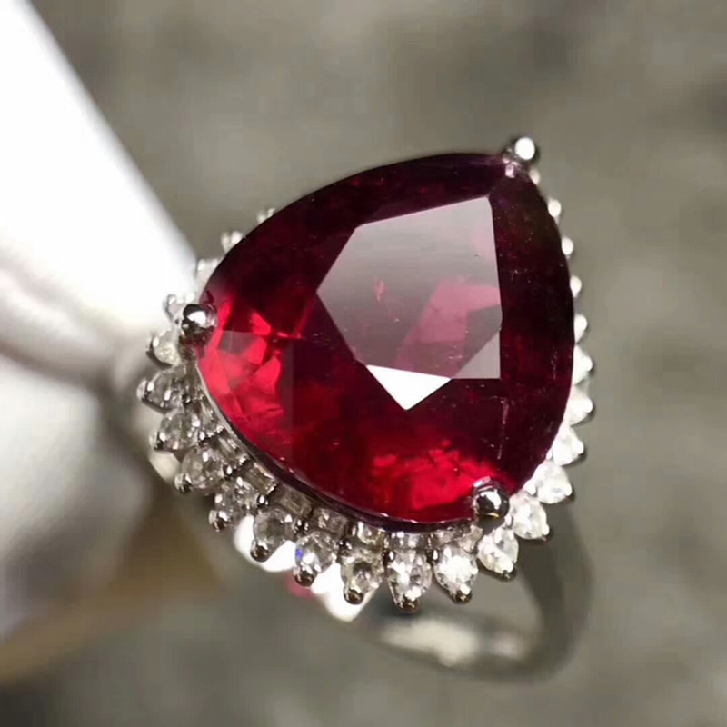 18k gold natural gemstone ring hand jewelry for women luxury 5.3ct red ruby engagement ring pary ring