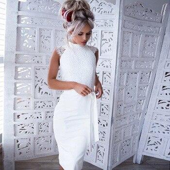 8b5c95d73 LOSSKY verano de las mujeres Sexy de encaje Midi vestido de fiesta sin  mangas blanco de la rodilla-longitud vestido elegante vestidos casuales  vestidos 2018 ...
