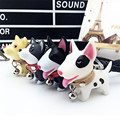 2016 New Fashion Creative Model Bull Terrier Dog Keychain Popular Versatile Rubber Keyring 4 Styles For Women Girl K-007