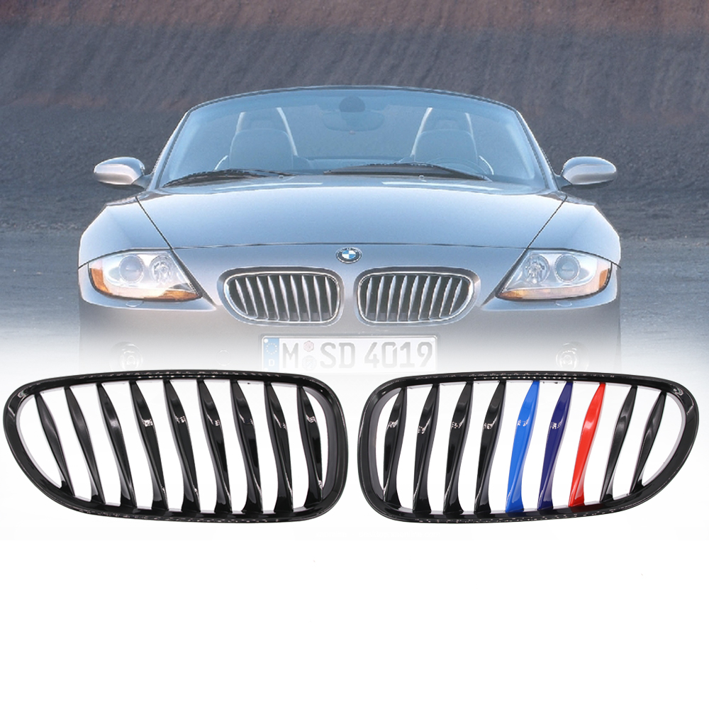 For BMW Z4 E85 E86 COUPE 2003-08 Front Kidney Grill Grilles Gloss Black M-color цена 2017