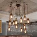 Vindima Industrial levou luzes pingente de metal para o teto alto cozinha sala de jantar bar aranha ajustável lâmpada do teto levou E27 lâmpada