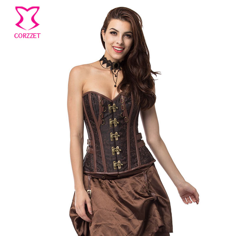 Corzzet Brown Brocade Steel Boned Overbust   Corsets   And   Bustiers   Waist Trainer   Corset   Top Gothic Costume Steampunk Clothing