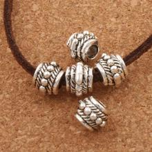 Bali Round Wheel Metal Rope Dots Curved Bail Style Beads 8x8.2mm 40PCS Antique Silver Spacers Jewelry Findings L620 LZsilver