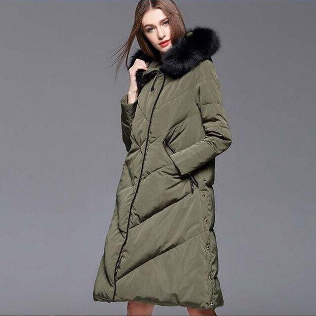 Натуральным енота Мех животных 2017 зимняя куртка Для женщин Пальто для будущих мам Куртка–пуховик на 90% белом утином пуху женский Мужские парки Армейский зеленый теплая плотная куртка