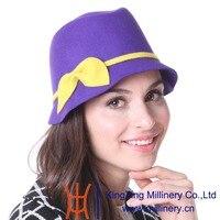 June S Young Women Hat Winter Outdoor Wedding Hat Wool Hat Church Hat 100 Wool Purple