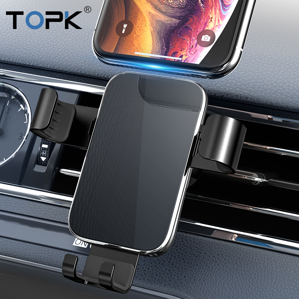 Suporte Do Telefone Do Carro Gravidade TOPK 360 Rotação Celular Clip Holder Suporte para iPhone Samsung Xiaomi Celular Suporte Do Telefone Móvel