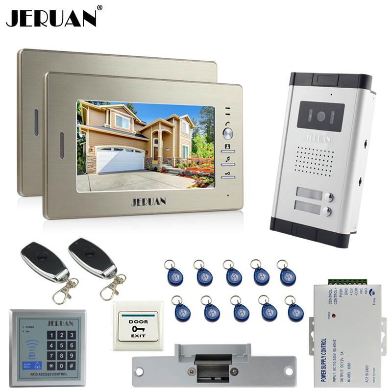 JERUAN 7`` LCD video door phone 2 Golden Monitor 1 HD Camera Apartment 1V2 Doorbell+RFID Access Control+FREE SHIPPING jeruan 7 inch lcd monitor 2 sets of 700tvl camera apartment video door phone 4 sets access control home security suite