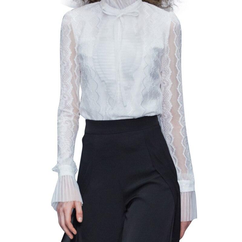 Européenne 2019 été automne nouvelles modes femmes hauts et Blouse manches longues Sexy dentelle couleur unie col montant chemise blanche A288 - 6