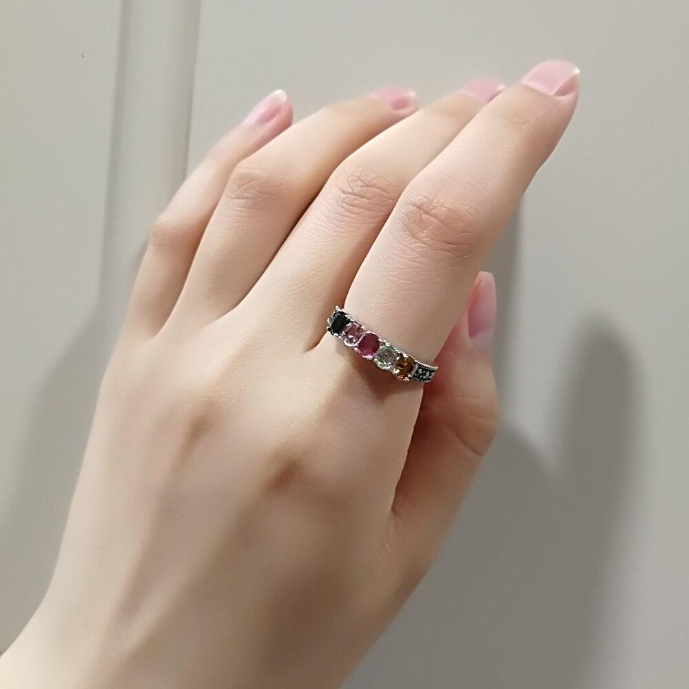 Authentique 925 bague en argent avec Tourmaline naturelle pierre colorée femmes anneaux élégant Bijoux fins Bijoux - 3
