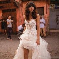 Лори принцесса свадебное платье Милая Аппликация с цветами трапециевидной формы Тюль спинки свадебное платье в богемном стиле Бесплатная
