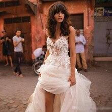 LORIEเจ้าหญิงงานแต่งงานชุดSweetheart Appliquedดอกไม้A Line Tulle Backless Bohoชุดแต่งงานจัดส่งฟรีชุดเจ้าสาว