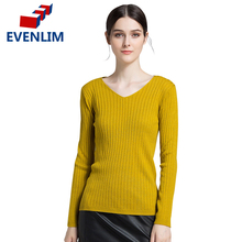 EVENLIM 2017  warm knitted pullover v-neck long sleeve sweater women jumper Autumn Winter All-match basic pull femme YH7140
