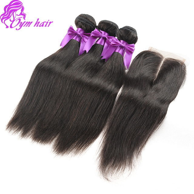 7A unprocessed Brazilian virgin hair straight with 4*4inches Lace closure 3bundles brazilain virgin hair with straight closure