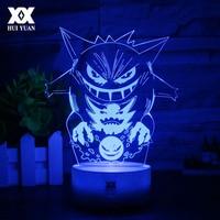 New Pokemon Gengar 3D Lamp Cool Colorful LED Night Light USB White Base Cartoon Decorative Desk