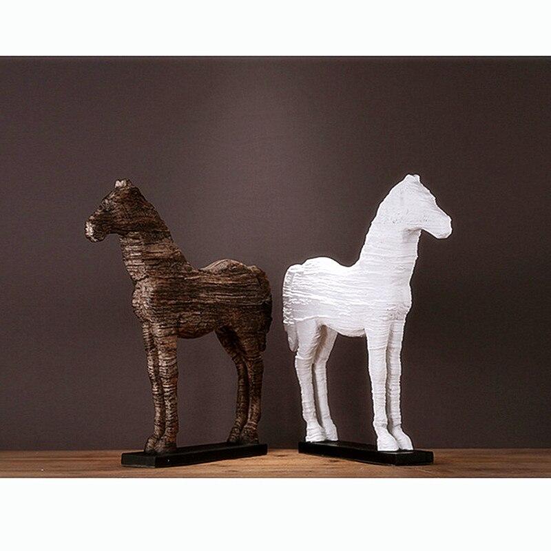 Imitation bois-Grain cheval Statue Simulation animaux colophonie artisanat maison bureau Villa hôtel décoration purement manuel, Art L2824