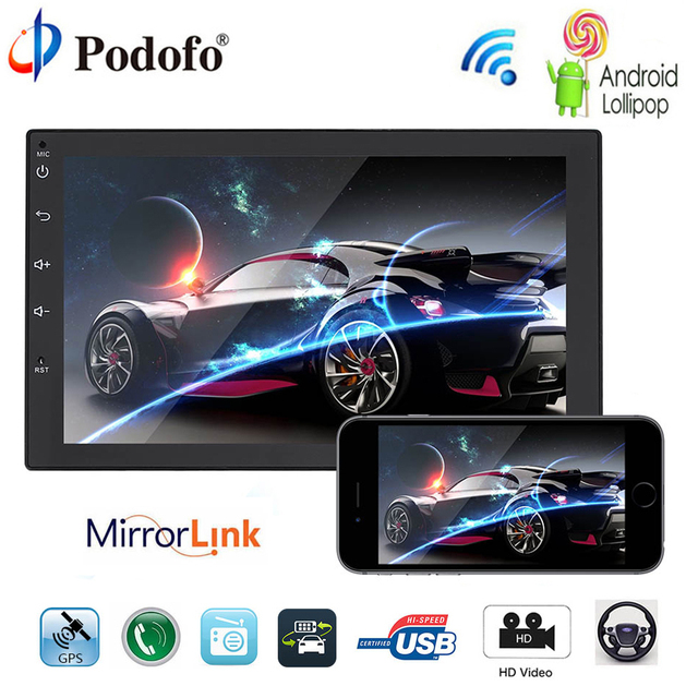 """podofo 2 din car radio android gps navigation bluetooth 7\"""" mp5podofo 2 din car radio android gps navigation bluetooth 7\"""" mp5 player touch screen wifi"""