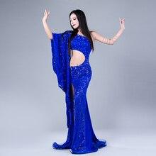 Performance modale danse du ventre dentelle élégante épaule inclinée fille robe robes de danse du ventre Costumes de danse du ventre confortable