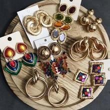 Miwens Za 32 Designs Metal Resin Crystal Drop Earring Women Geometric Boho Trendy Dangle Earring Wholesale Handmade Jewelry A271