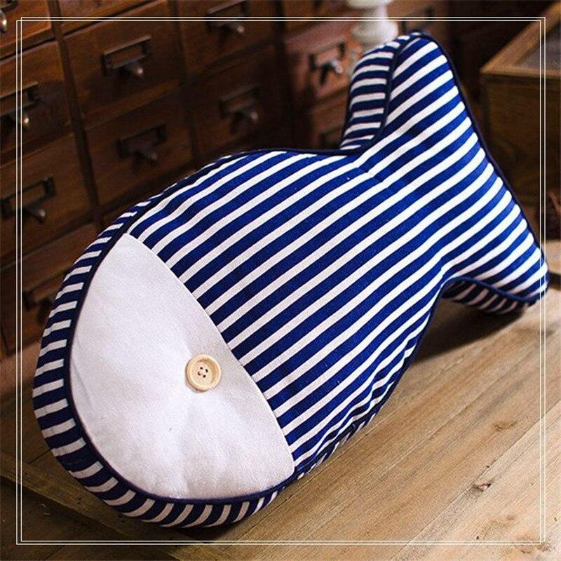 ⑧Pescado Cojines lienzo raya azul y blanco dot niños Mantas
