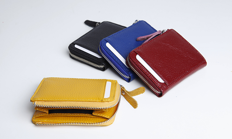 EMMA YAO  Women's Leather Coin Purses Holders Mini Cow Leather Card Holder