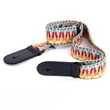 цена на Adjustable Woven Cotton Ukulele Strap With Leather Ends Vintage ukulele color mini guitar straps Musical Accessories Wholesale