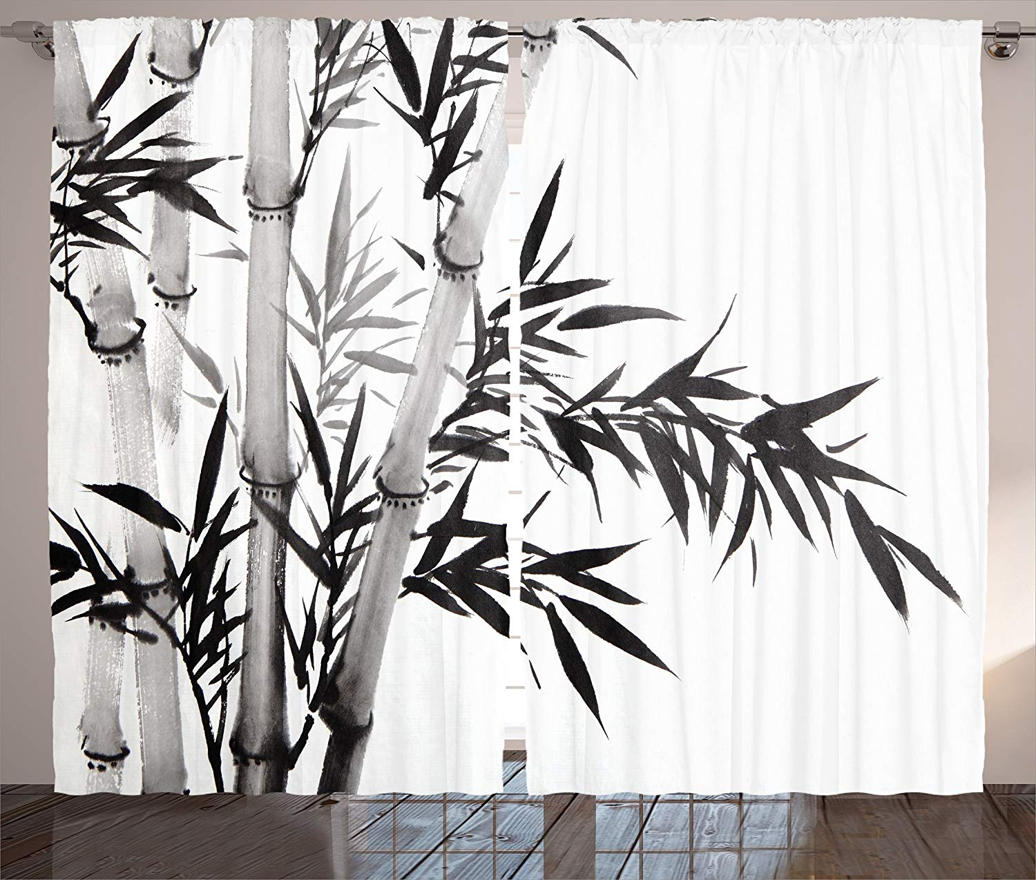 Bamboo Decor Curtains Bamboo Tree Illustration Traditional Chinese Calligraphy Style Asian Culture Decor Living Room Bedroom