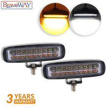BraveWay 36W LED Fog Light Dual Color Yellow Fog Lamp Vehicle Work Light LED Truck Motorcycle Extra light for Moto SUV,UTV,ATV