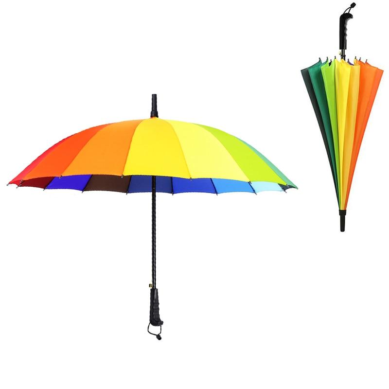 Rainbow Large Umbrella Rain Women Windproof Ladies automatic Sun Long-handle Parasol Colorful Men Anti-UV Business Paraguas