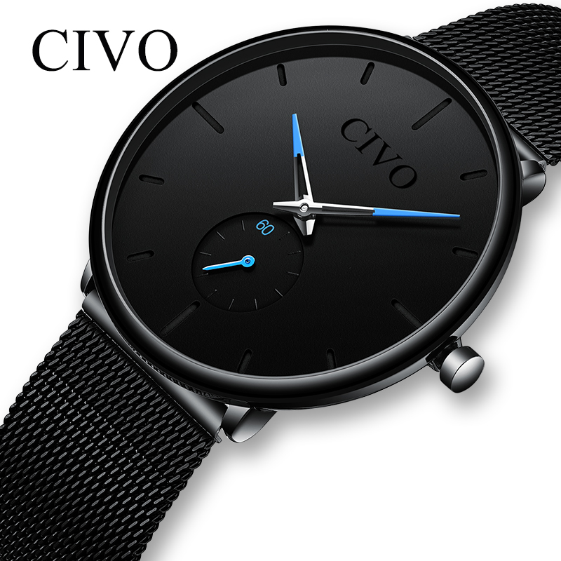 CIVO Fashion Watch Men Waterproof Slim Mesh Strap Minimalist Wrist Watches For Men Quartz Sports Watch Clock Relogio Masculino