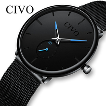 CIVO Fashion Watch Men Waterproof Slim Mesh Strap Minimalist Wrist Watches For M