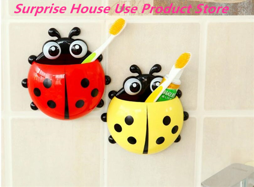 Cute Ladybug Toothbrush Wall Suction Bathroom Sets Cartoon Er Holder Hooks Accessories In Storage Shelves Racks From Home