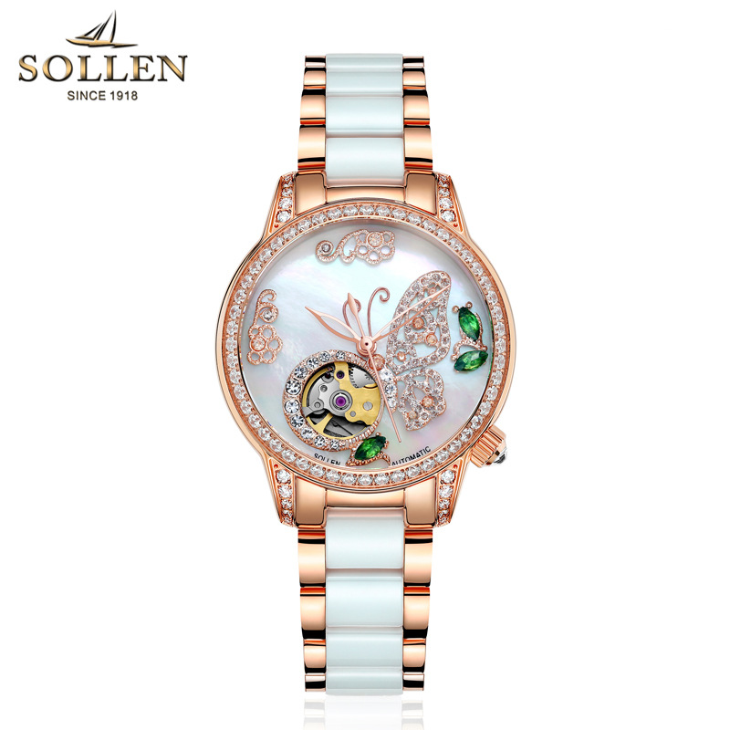 SOLLEN Top New Luxury Brand Ladies Mechanical Watch Butterfly Ceramic Strap Emeralds Women Wrist Watches Relogios FemininoSOLLEN Top New Luxury Brand Ladies Mechanical Watch Butterfly Ceramic Strap Emeralds Women Wrist Watches Relogios Feminino