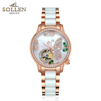 SOLLEN Top New Luxury Brand Ladies Mechanical Watch Butterfly Ceramic Strap Emeralds Women Wrist Watches Relogios Feminino