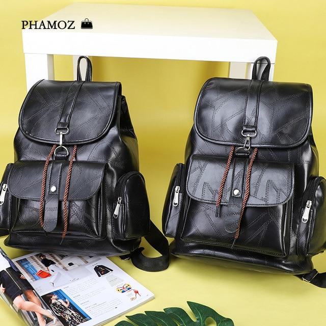 Mulheres mochila de Viagem de Couro Preto Senhoras Estudante, Bagpack, Bolsas Para Mulheres, Saco de Embalagem, Backbag