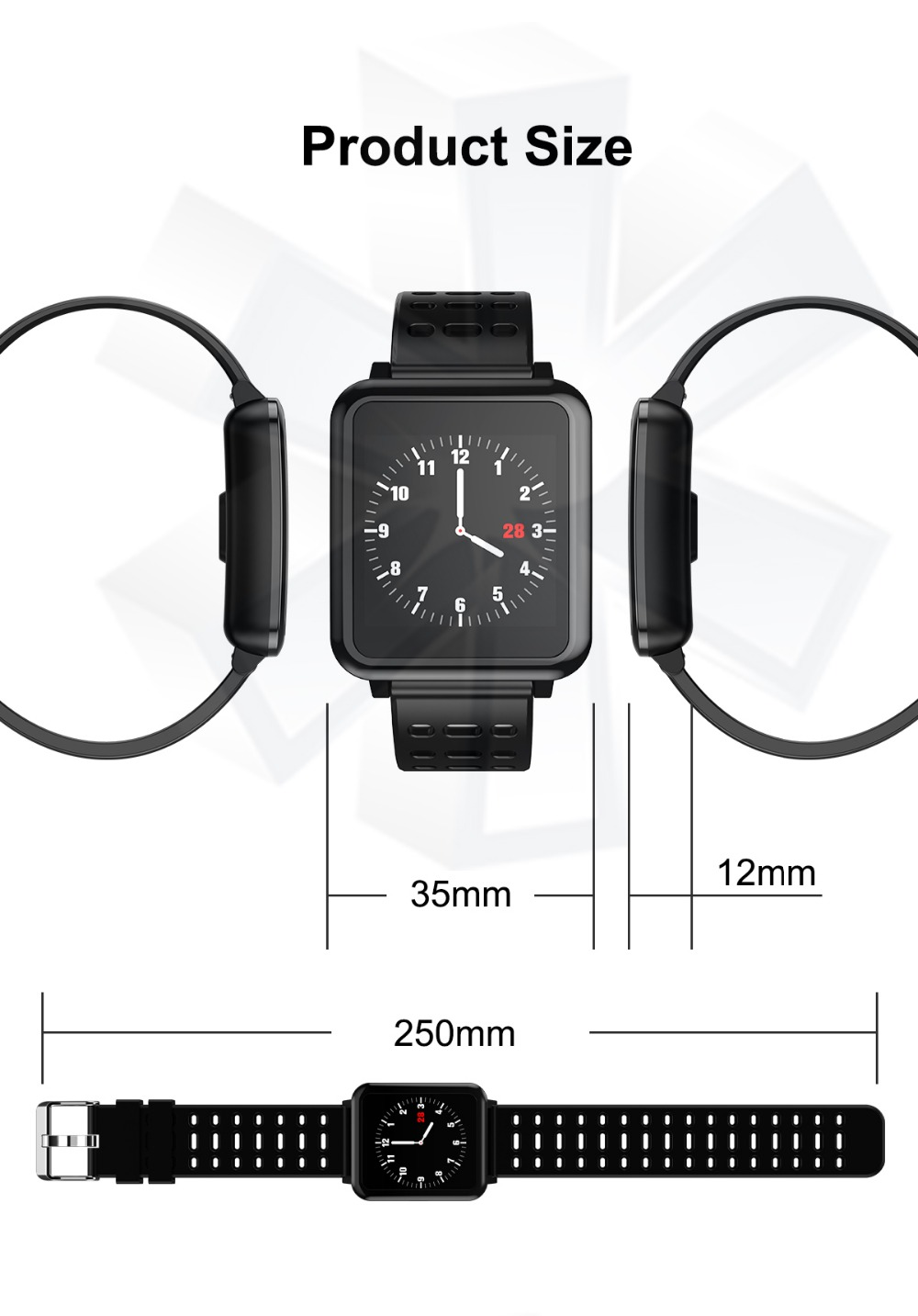 T2 Smartwatch IP67 Waterproof Wearable Device Bluetooth Pedometer Heart Rate Monitor Color Display Smart Watch For AndroidIOS (16)